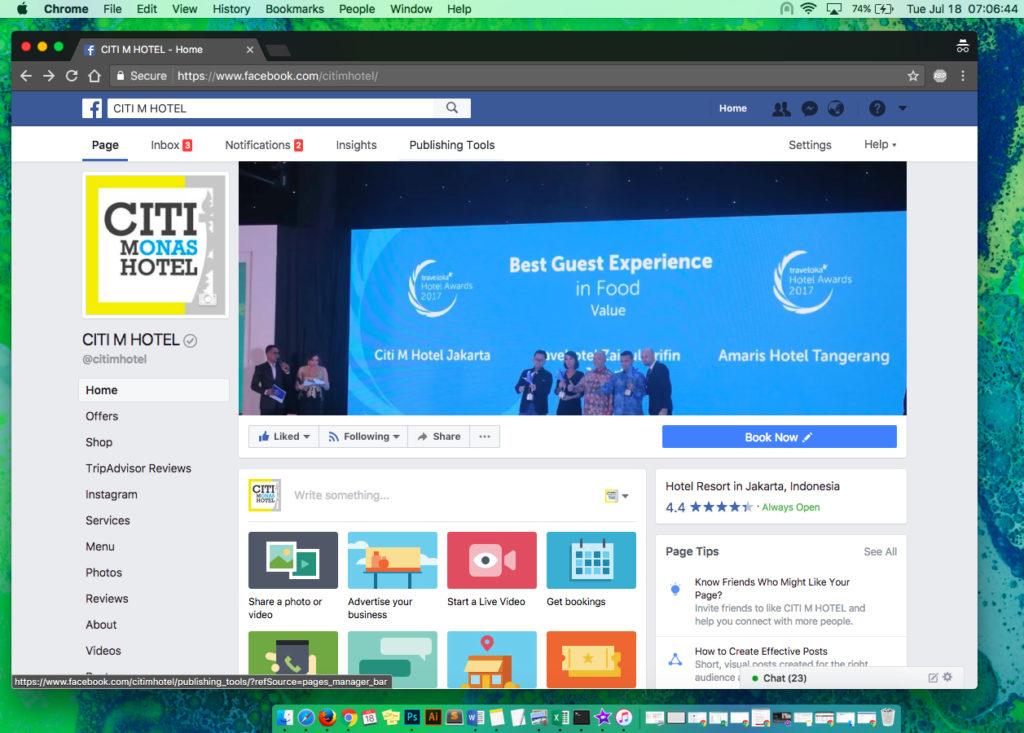Halaman Facebook Citi M Hotel Gambir
