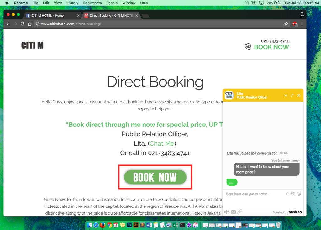 Booking Form di Website Citi M Hotel Gambir